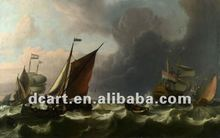 Pirate ship sea battle ocean waves sail boat oil paintings