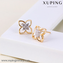 23906 gold plated jewelry, jewelry manufacturer china flower jewelry, new model stud earring