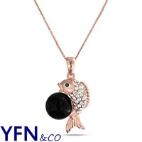 China Wholesale Rose Gold Fish Clear Crystal Black Pearl Pendant Necklace