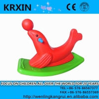 plastic bicolor animal sea lion baby rocking horse toy