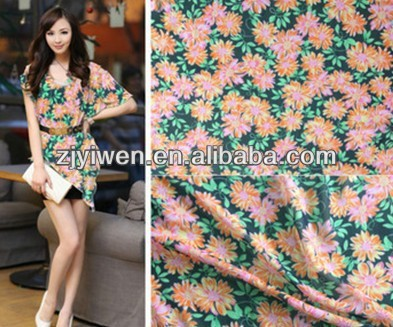 spring autumn women sundress beach dress fabric allover flower print pongee fabric