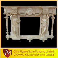 Modern carved natural brown marble fireplace