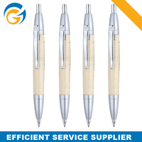 Wood Color Plastic Custom Made Pen Clip Silver Ballpen