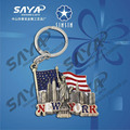 Statue of liberthy with USA flag metal keychain