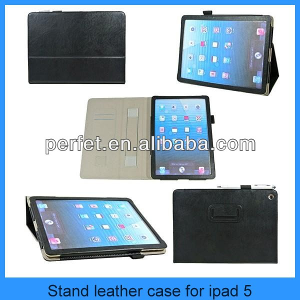 Real Leather Insert card for iPad 5 Carrying Case Protective Cover Tablet Stand