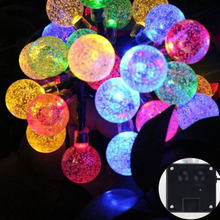 Coffee house color changing solar crackle glass ball led garden lights