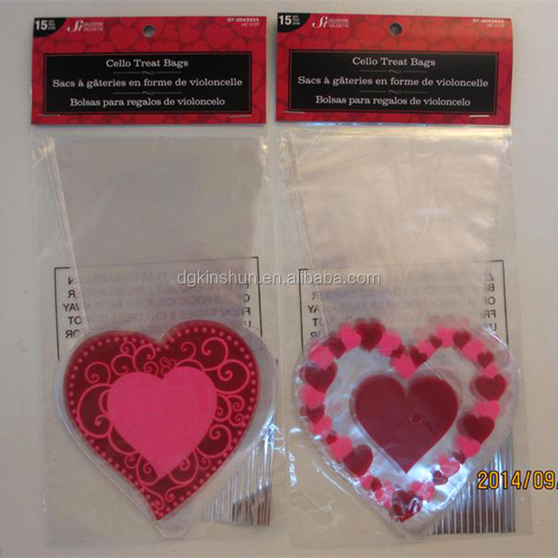 Special candy cello sacks plastic Valentines gift food packages