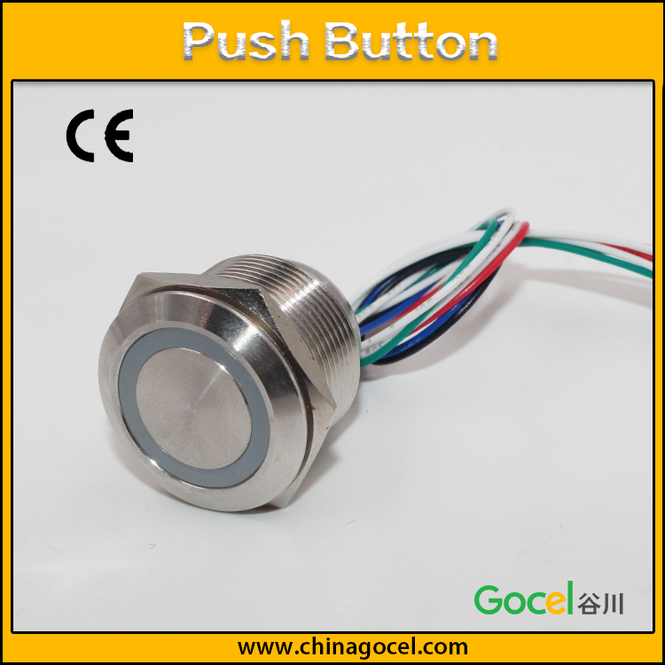 16mm / 12mm RGB 3-colors LED lamp illuminated push button,1NO normally open switch,cable wire button GQ16F-10WE/P/S