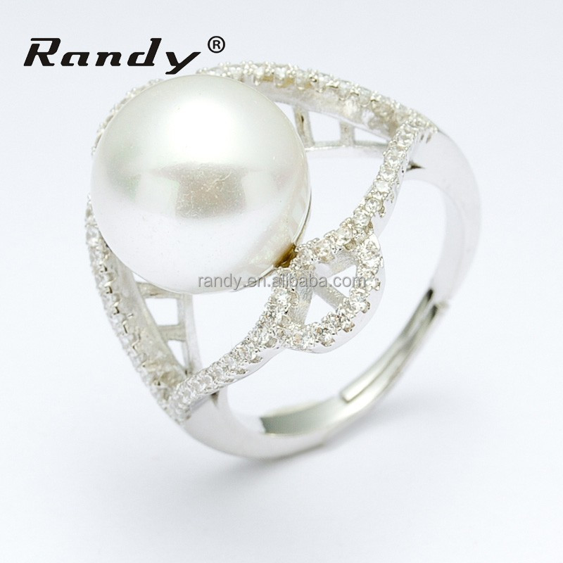 Wholesale Elegant Big Pearl White Gold Fashion Ring For Girl