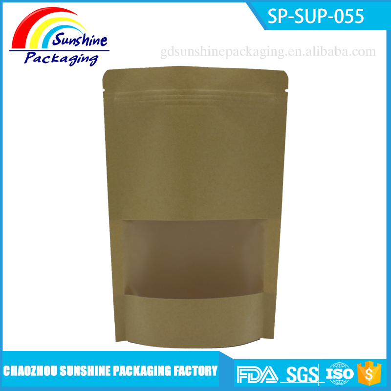 Food Packing Round Bottom Standing Paper Pouch with Window and Zip
