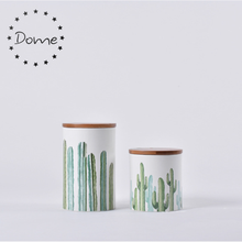 Kitchen counter cactus printed ceramic canister with bamboo lid