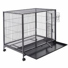 Folding steel pet cage with The bottom of encrypted plastic cage
