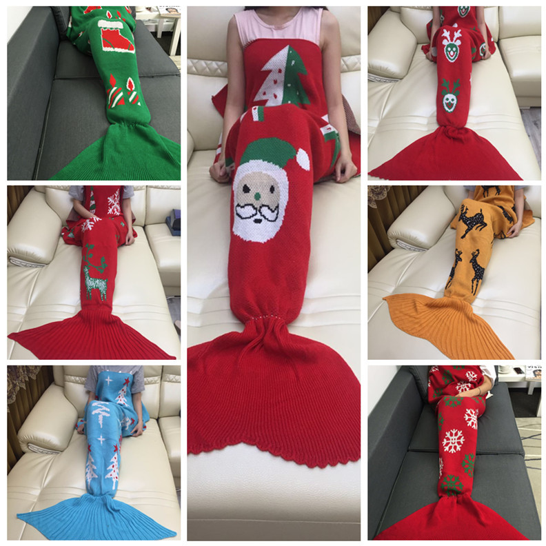 Christmas knitting crochet mermaid tail blanket