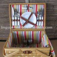 Wooden Chip Picnic Basket For 4
