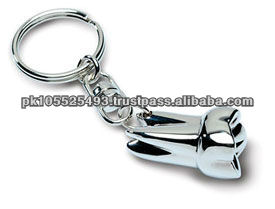 DESCRIPTION: NICKLE PLATED KEY CHAIN, REGULAR TOOTH SHAPE, SILVER COLOR.