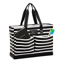 Custom heavy duty girl laptop tote bag, multi pockets stripe shopping travel bags with leather bottom
