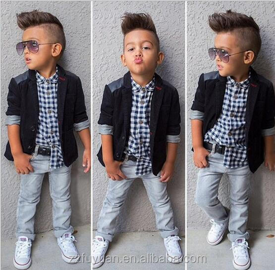 2016kid boy spring autumn shirt+jeans pant+jacket sets