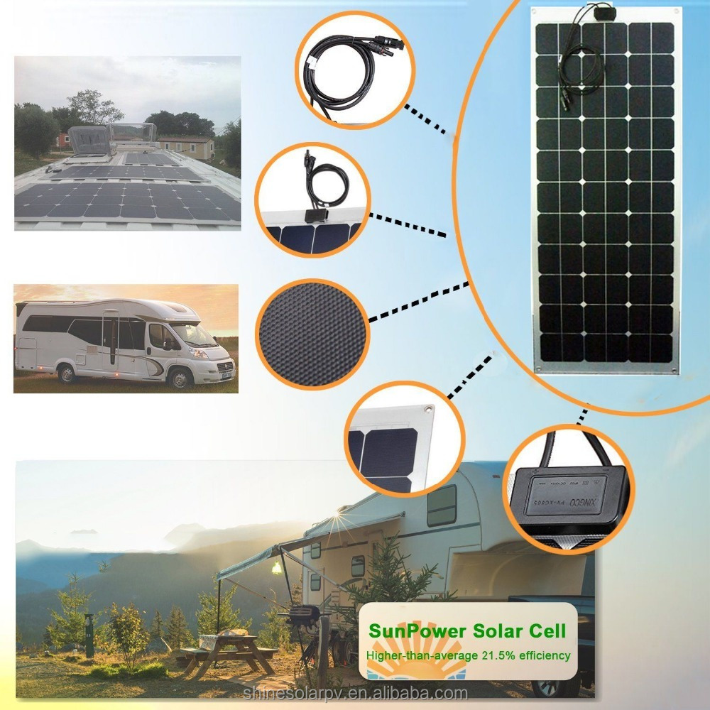China Factory Direct Sales Cheap 150w Semi Flexible Solar Panel with mono Solar Cells for RV Boat Marine
