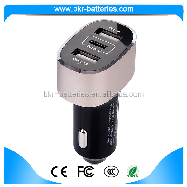 Newest powerful 2 regular USB portS +Type-C port car charger 3A current for smartphones and Type-C devices