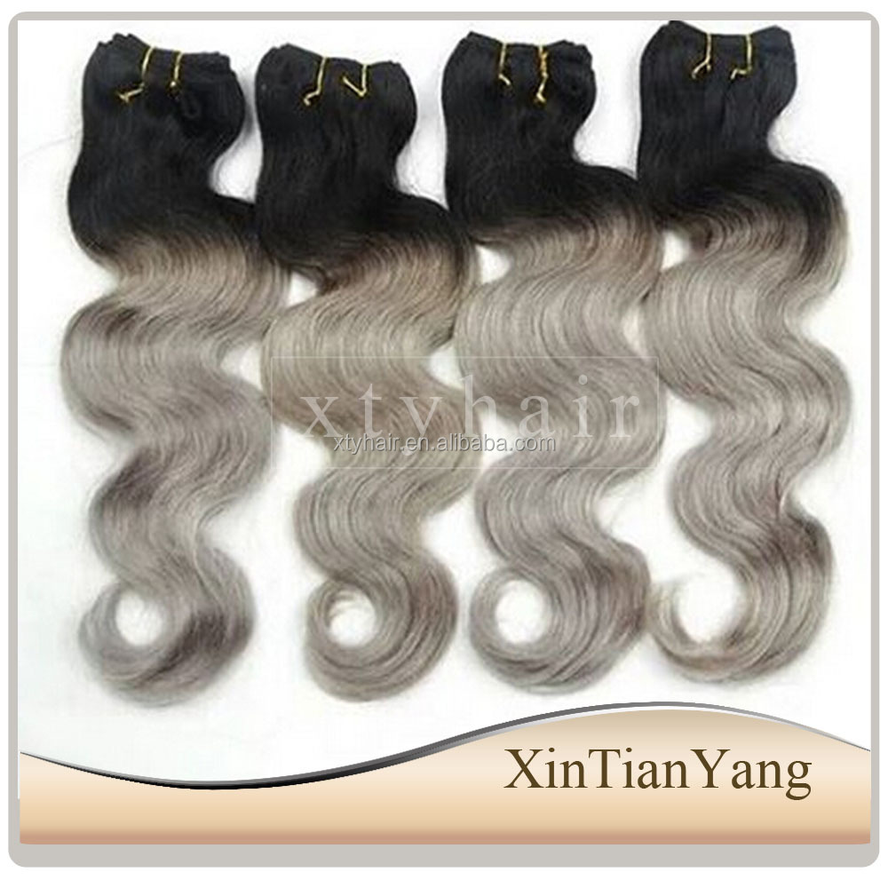 Alibaba express 100% virgin brazilian hair, grey ombre hair extensions with body wave