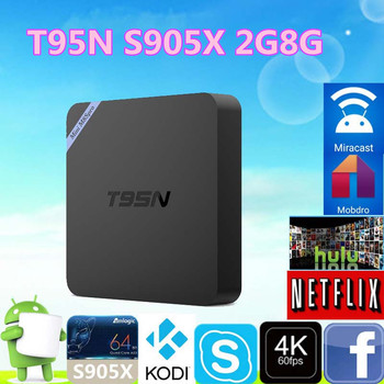 2017 New arrival T95N S905X 2G 8G Android 6.0 TV box Bluetooth 4.0 dual WiFi 5-core TV box