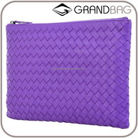 Summer New Product Classic Envelope Clutch Bag, Ladies Woven Party Purse Lady Genuine Sheep Leather Clutch Bags