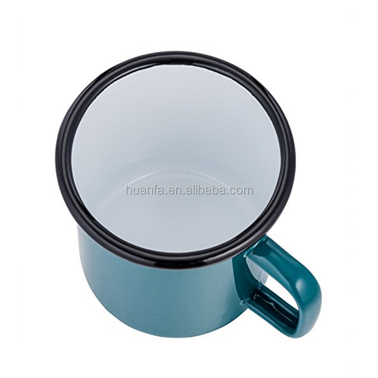 wholesale 11oz 12oz sublimation blanks enamel mugs with stainless steel rim and colorful roll rim