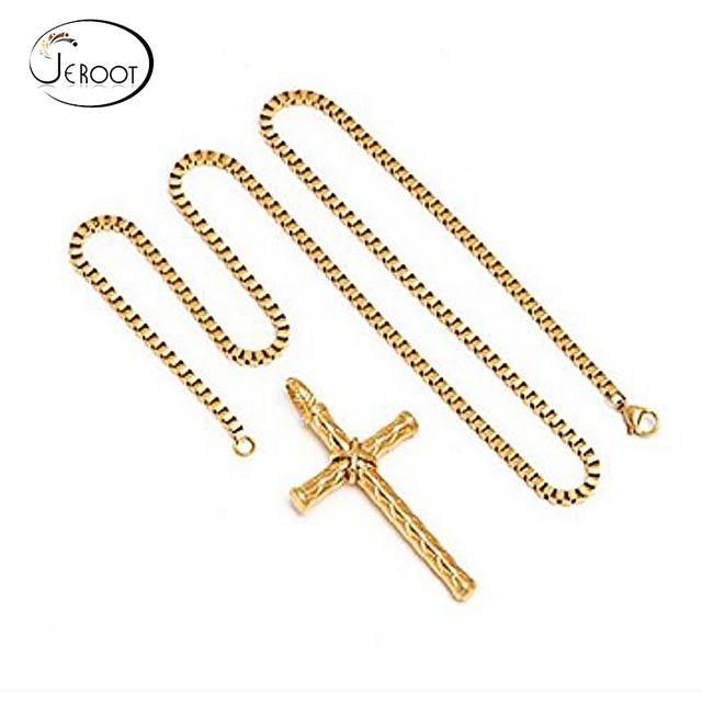 Cheap Fashion Jewelry Stainless Steel Cross Pendant Necklace 18K Gold Chain Necklace For Men Women