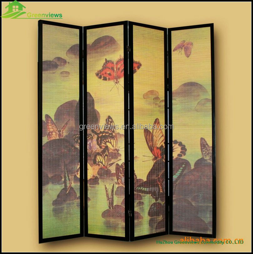 Folding screen room divider Chinese desigh printing Folding Screen Room Divider Pine Wood Frame with Bamboo Strips Screen GVLB01
