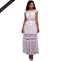 White Lace Short Sleeve Hollow Out Patchwork Cocktail Long Party Evening Dresses