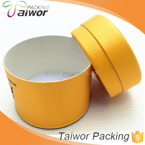 Yellow custom round paper box for candle/ cosmetics/ powder / jewelry