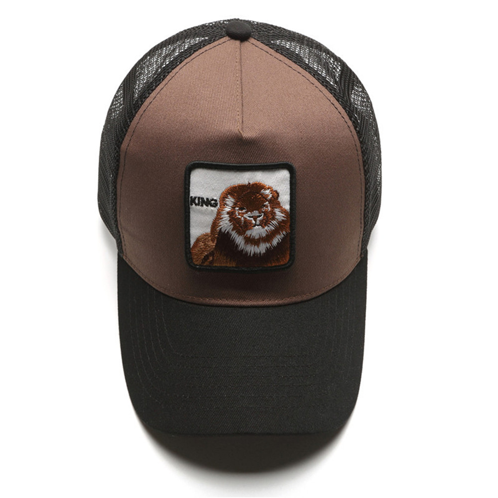 Two Tone Dark Brown Canvas Caps Applique Animal Lion Embroidered Trucker Hats