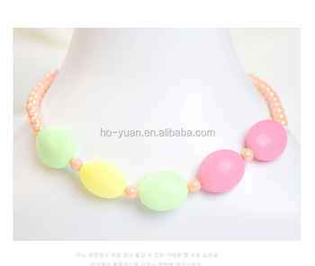 Children candy color pearl necklace chain jewelery accessories