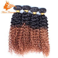 100% Human Ombre Hair Braiding Extension Virgin Brazilian Hair Weave 1BT30 Tone Tone Kinky Curly Hair Weft