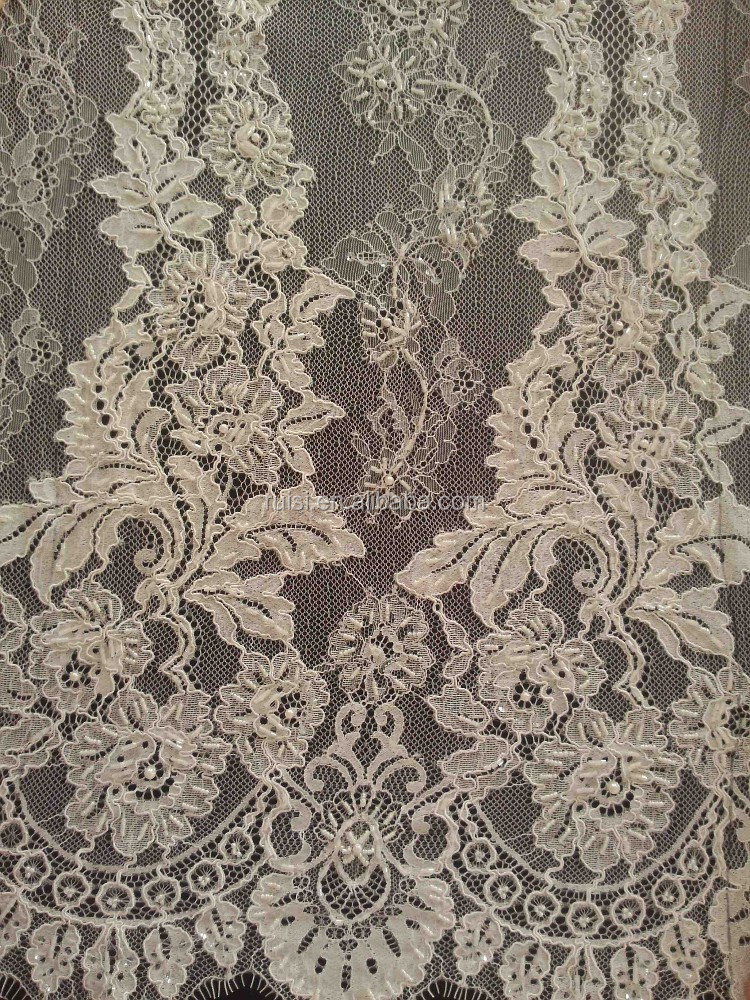 2015 Hot Sale Beaded Embroidery Cord Tull Lace French Net Lace