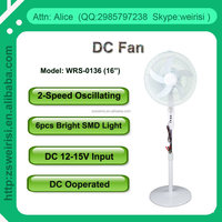 16 Inch Solar DC Stand Fan, 6 SMD Light & 2-Speed Oscillating (WRS-0136)
