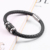 Hot selling products stainless steel religious cross black genuine braided leather bracelet for men women