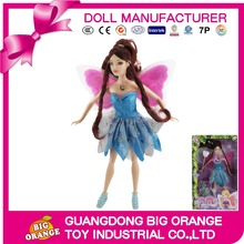 11.5 inch Wholesale Plastic Doll Beautiful Girl Fairy Flying Doll with Butterfly Wing