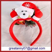 yiwu agent christmas decoration items novelty lie lighted up christmas bear headband