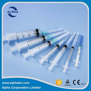 Disposable three part hypodermic Syringe