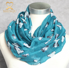 Hot Selling Elephant Printed Plaid Voile Infinity Loop Scarf