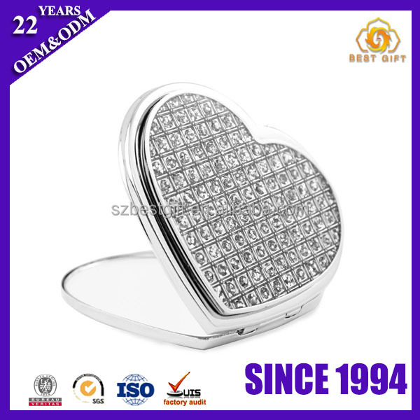 Heart Shaped Crystal Mini Pocket Handbag makeup cosmetic mirror
