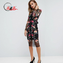 2018 Summer New Design Women Embroidered Mesh Floral Midi Dress