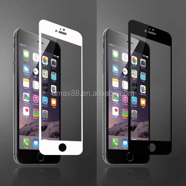 New! full cover 100% perfect fit screen protector for iphone6&6plus with white/black frame