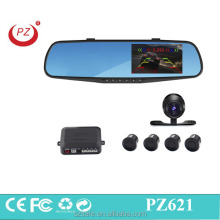 car rear view mirror DVR with reverse parking sensor