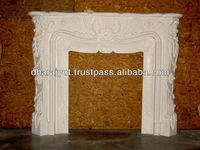 white marble polished sandstone fireplaces