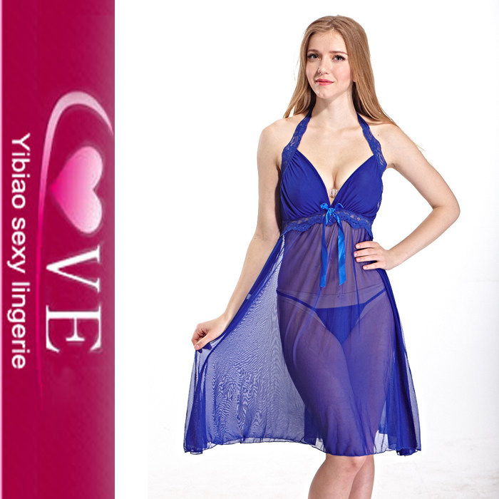 Wholesale Hot Blue Transparent Lingerie Sexy Pictures Of Women In Nightgowns