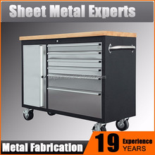 Hot selling cheap industrial metal tool storage cabinets,rubber wooden top workbench,steel worktable sales