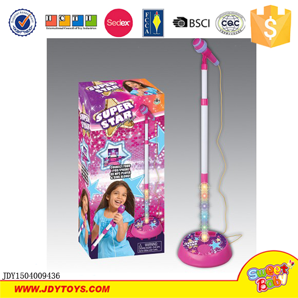 Hot sell super star karaoke music kids electronic plastic microphone toy