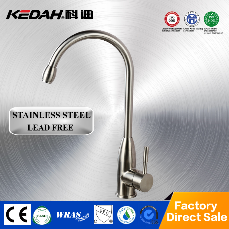 KD-82301single handle deck mounted kitchen sink faucets mixer taps stainless steel kitchen faucets